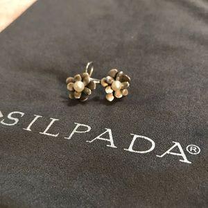 Silpada Pearl Love Bloom Flower Earrings